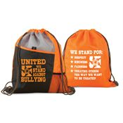 United We Stand Against Bullying Two-Sided Drawstring Backpack