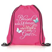 Blessed Is The Woman Who Walks With God Nylon Drawstring Backpack