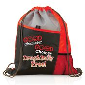 Good Character, Good Choices, Drug And Bully Free - Red Ribbon Sports Drawstring Backpack