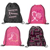 Breast Cancer Awareness Nylon Drawstring Backpack Assortment Pack