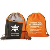Two-Sided Drawstring Backpack With Safety Tips - Personalization Available