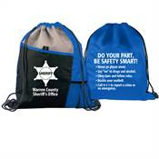 Do Your Part, Be Safety Smart! Two-Sided Drawstring Backpack With Safety Tips - Personalization Available