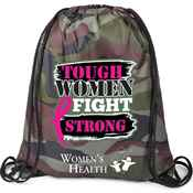 Tough Women Fight Strong Camouflage Nylon Drawstring Backpack with Personalization