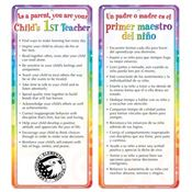 As A Parent You Are Your Child's 1st Teacher 2-Sided English/Spanish Glancer - Personalization Available