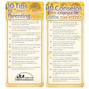 10 Tips For Stress-Less Parenting Two-Sided English/Spanish Glancer - Personalization Available