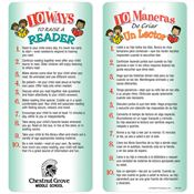 10 Ways To Raise A Reader 2-Sided Bilingual Glancer - Personalization Available