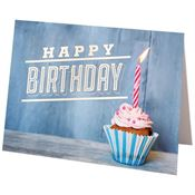 Happy Birthday Cupcake Design Greeting Card With Personalization