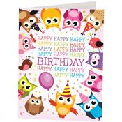 Happy Birthday Owl Design Greeting Card With Personalization
