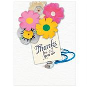 Thank You Flowers & Medical Stethoscope Design Greeting Card With Personalization