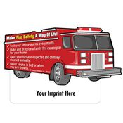 Fire Truck Shaped Magnet With Tips - Personalization Available