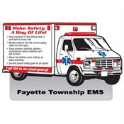 Make Safety A Way Of Life! Die-Cut Ambulance Magnet - Personalization Available