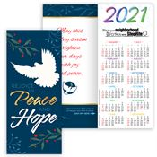 Hope, Peace & Love 2020 Gold Foil-Stamped Holiday Greeting Card Calendar - Personalization Available