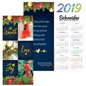 Warmth, Love, Joy 2019 Gold Foil-Stamped Holiday Greeting Card Calendar - Personalization Available