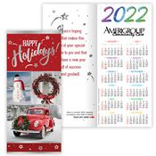 VIntage Red Truck 2020 Silver Foil-Stamped Holiday Greeting Card Calendar - Personalization Available