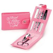 Blessed Is The Mother Who Walks With God Leatherette Manicure Kit