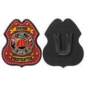 Red Leather Plastic Junior Firefighter Badge