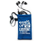 Stand Up, Speak Out, Listen! Prevent Child Abuse Earbuds In Pouch