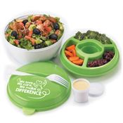 We Love, We Care, We Make A Difference, Round Food Container With Compartments