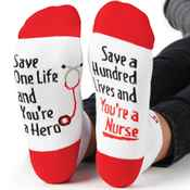 Save One Life And You're A Hero; Save A Hundred Lives And You're A Nurse Cushioned Ankle Socks