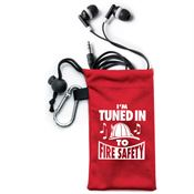 I'm Tuned Into Fire Safety Earbuds In Microfiber Pouch with Safety Tips