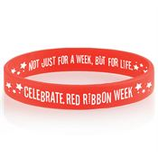 Celebrate Red Ribbon Week 2-Sided Silicone Awareness Bracelet
