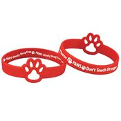 These Paws Don't Touch Drugs (Red) Die-Cut 2-Sided Silicone Bracelet