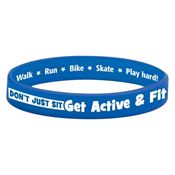 Don't Just Sit Get Active & Fit Silicone Message Wristband