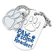 PAW-some Reader! Dog Tag With Charm