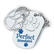 Perfect Attendance Paw Dog Tag With Charm