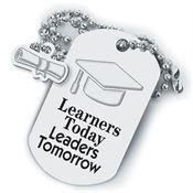 Learners Today, Leaders Tomorrow Dog Tag With Charm
