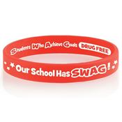 Our School Has SWAG! 2-Sided Red Ribbon Silicone Awareness Bracelet