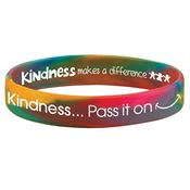 Kindness...Pass It On 2-Sided Rainbow Silicone Awareness Bracelet