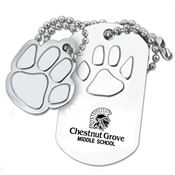 Paw Dog Tag With Charm - Personalization Available