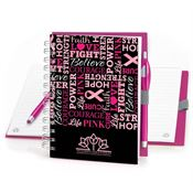 Words Of Inspiration Pink Ribbon Notebook & Stylus Pen With Personalization