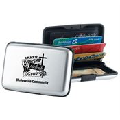 A Place To Worship Belong & Grow Silver Identity Guard Aluminum Wallet