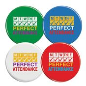 Perfect Attendance Mini Buttons Assortment Pack