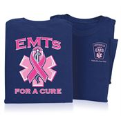 EMTs For A Cure Ribbon Design Short Sleeve T-Shirt - Personalized
