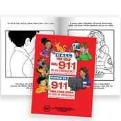 Telephone For Help, Call 9-1-1 Bilingual Educational Activities Book - Personalization Available