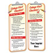 College Visit Checklist Die Cut Bookmark - Personalization Available