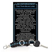 Law Enforcement: The Thin Blue Line Paracord Key Chain With Card