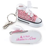 I'd Walk Forever For A Cure Pink Bling Mini Hi-Top Sneaker Key Tag