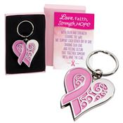 Pink Ribbon Heart Metal Key Tag with Keepsake Card
