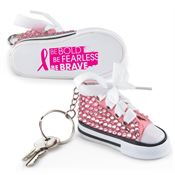 Be Bold, Be Fearless, Be Brave Pink Bling Mini Hi-Top Sneaker Key Tag
