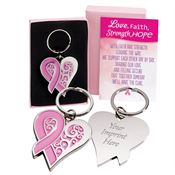 Pink Ribbon Heart Metal Key Tag With Keepsake Card - Personalized