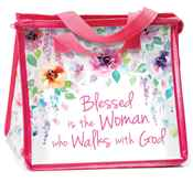Blessed Is The Woman Who Walks With God Floral Laminated Non-Woven Insulated Lunch Bag