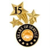 15 Years Of Service Triple Star Lapel Pin With Jewel Box
