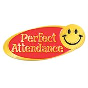 Perfect Attendance Smiley Face Award Pin