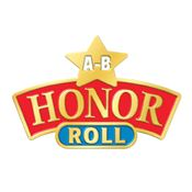 """A-B"" Honor Roll Star Lapel Pin With Presentation Card"