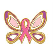 Butterfly Ribbon Breast Cancer Awareness Lapel Pin With Presentation Card