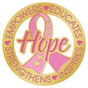 Hope: Empowers, Educates, Strengthens, Inspires Breast Cancer Awareness Lapel Pin with Presentation Card